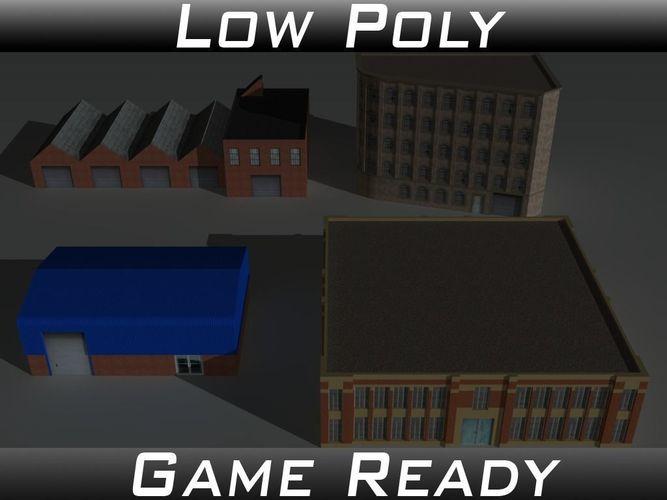 factory building set 2 3d model obj 3ds fbx mtl 1