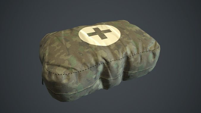camouflage first aid kit pbr game ready 3d model low-poly max obj mtl fbx 1