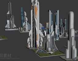 science fiction building cluster 3D
