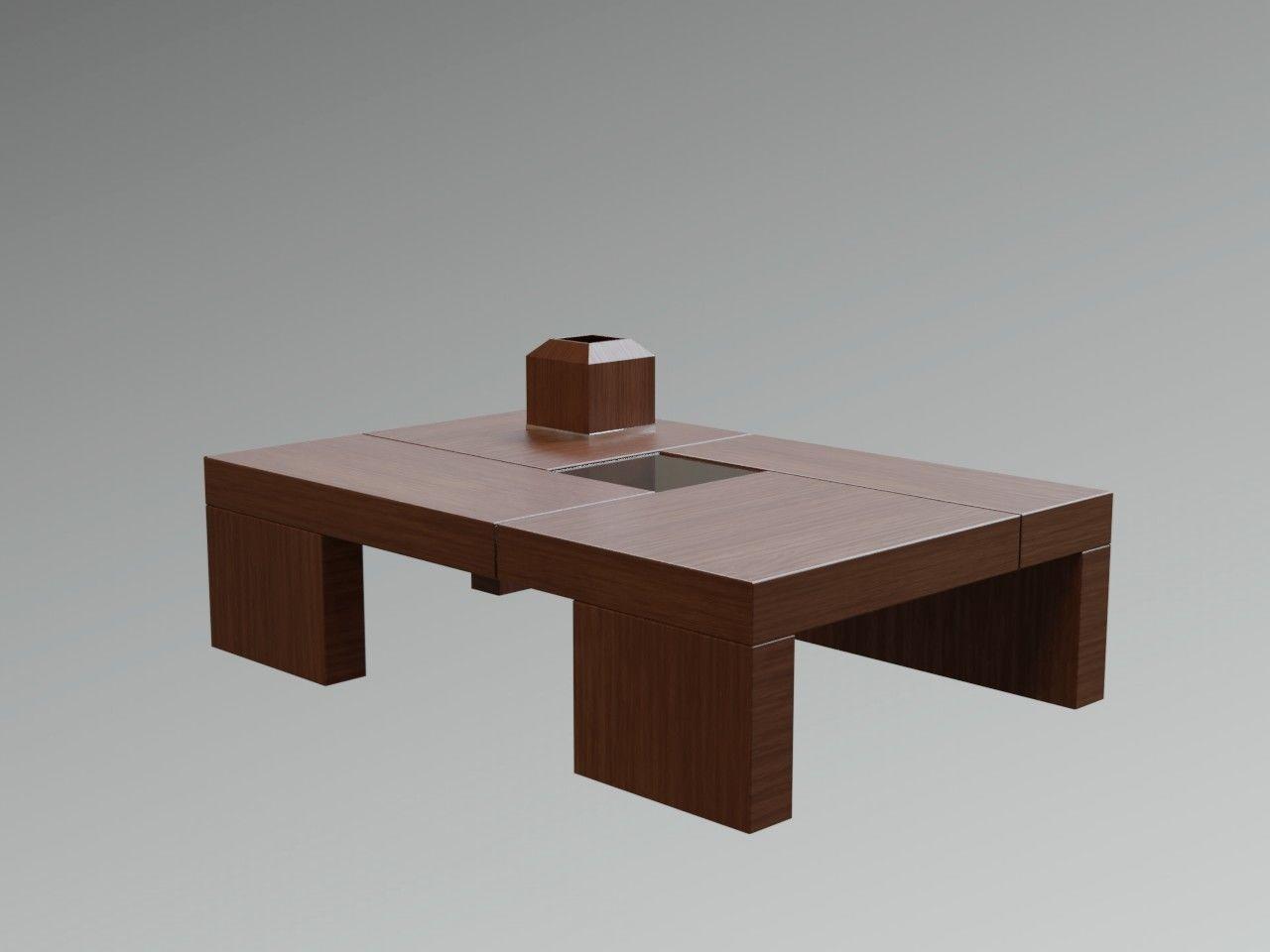 Zen Anese Modern Wooden Coffee Table Lowpoly Model