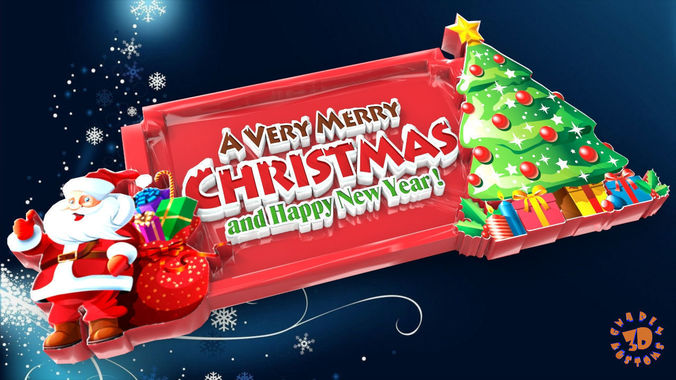 a very merry christmas and happy new year sign 3d model obj mtl stl 1