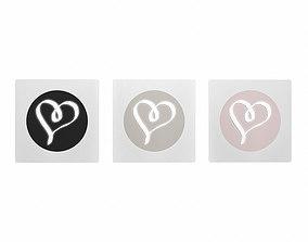 3D Artwork Set of 3 - Hearts