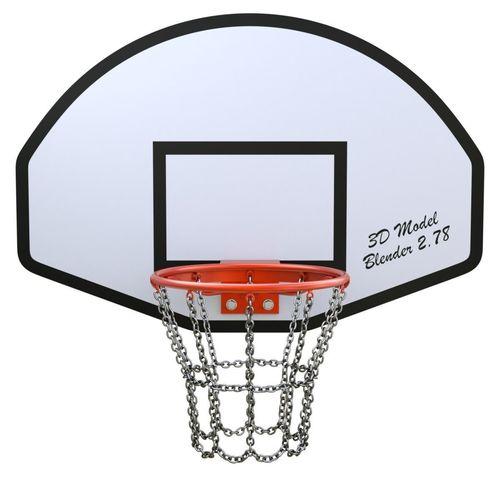 basketball hoop with chain net 3d model obj mtl fbx blend 1
