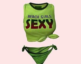3D model Sexy Beach Bikini Green 03
