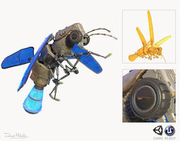 3D model animated Lightning Bug PBR RIG ANIM