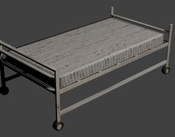 3D asset old an rusty hospitalbed