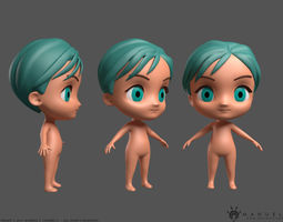 Cute Chibi Character 3D model