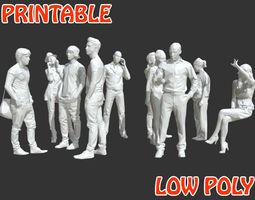 10 Low Poly People - Talking Posed - Printable 3D model 2