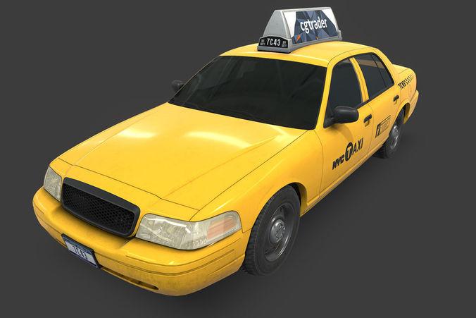 new york taxi 3d model low-poly max obj mtl fbx 1