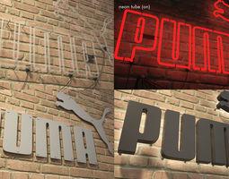 VR / AR ready logo sign Puma 3d