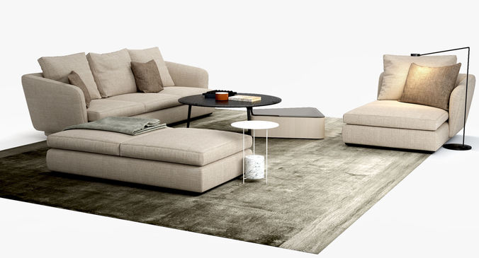 3d molteni c sloane sofa belsize table set cgtrader. Black Bedroom Furniture Sets. Home Design Ideas