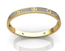 3D print model Bracelet Diamond Paved Yellow Gold Diamonds