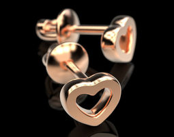 3D print model Stud earrings Hearts