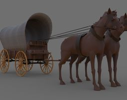 Wagon 3D model game-ready