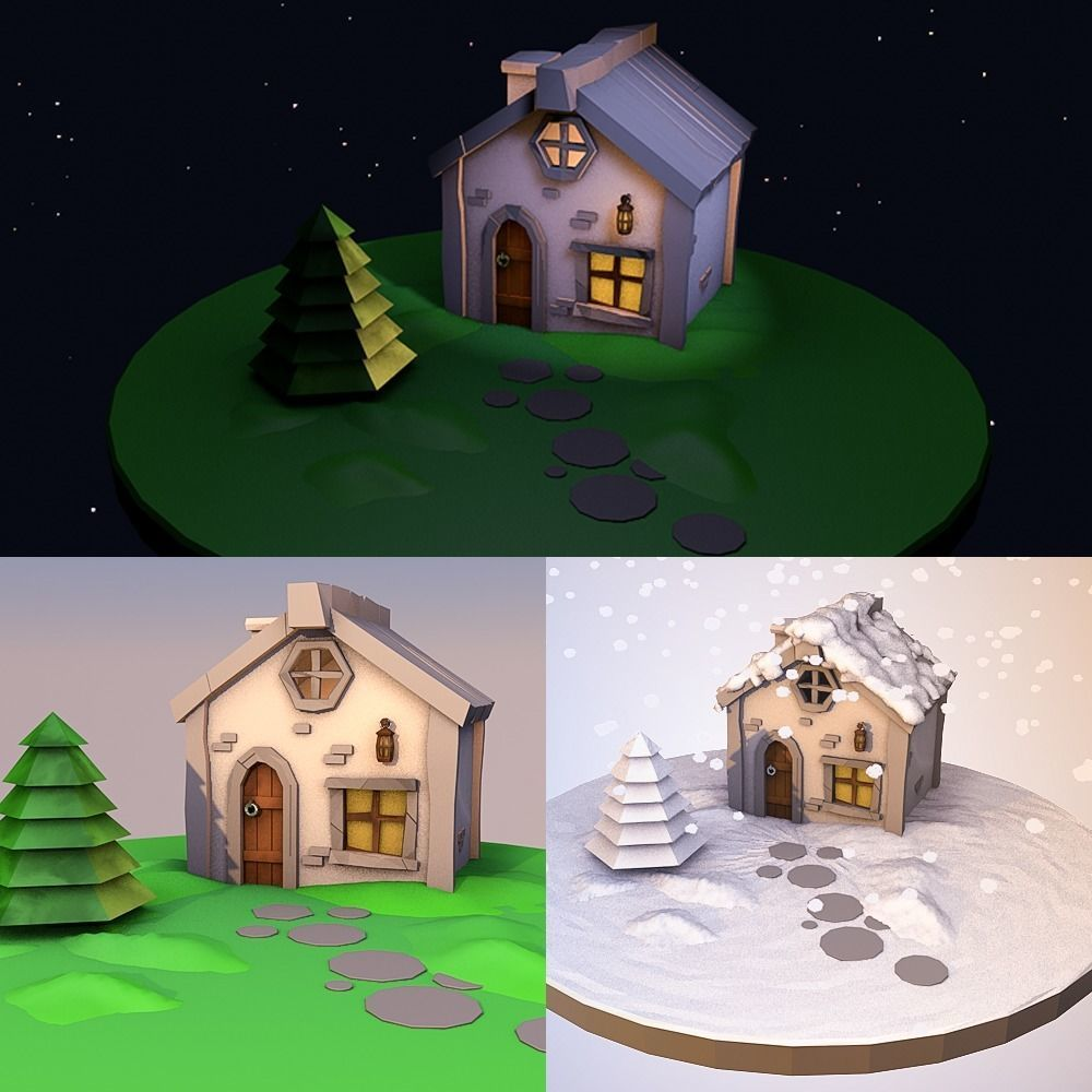 simple low poly stony house