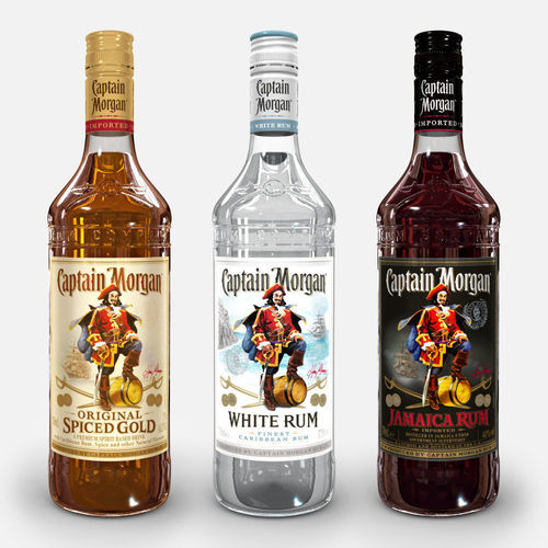 captain morgan bottle set 3d model max obj 3ds fbx c4d ma mb 1