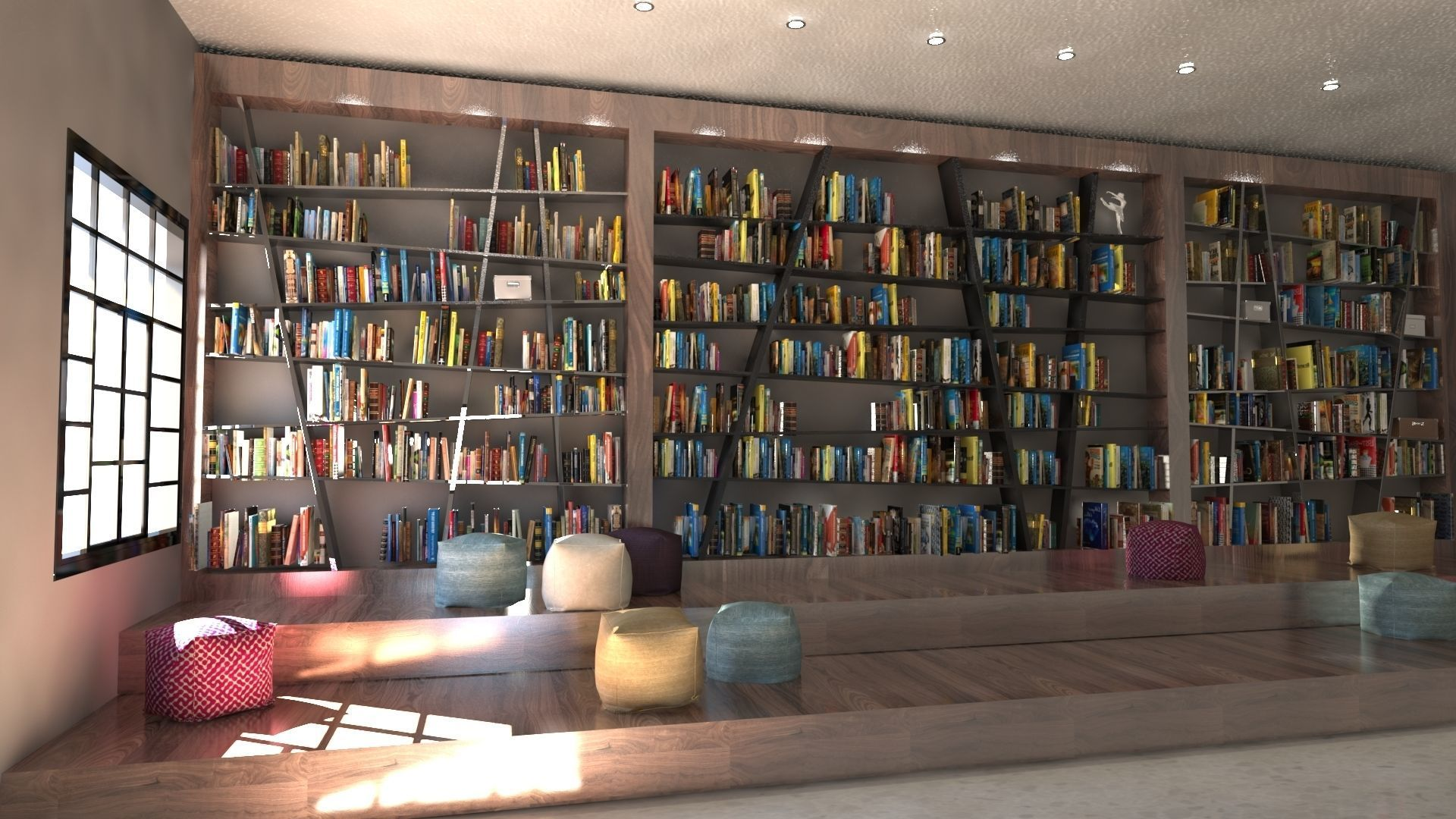 3d Wooden School Library Books Cgtrader