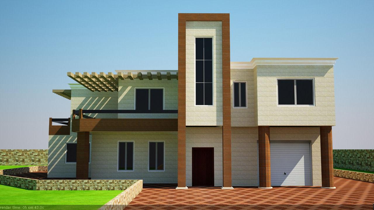 Modern villa 3d model max obj 3ds dwg 6