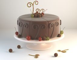 Chocolate cake 3D model chocolate