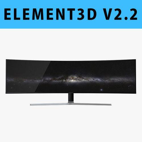 E3D - Samsung 49 Inches CHG90 QLED Gaming Monitor 3D model | 3D model