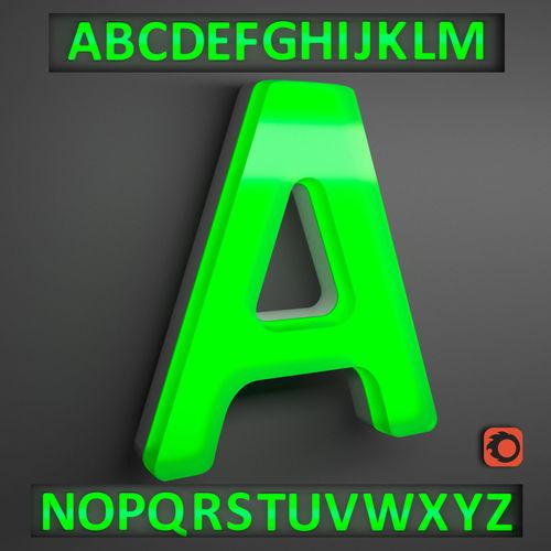 english alphabet letters- neon light 3d model max obj mtl 3ds 1