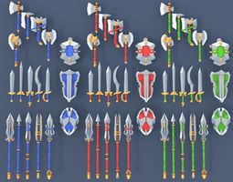 Low Poly Fantasy Weapons 3D model