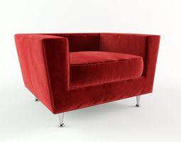 3D Red Velvet Sofa