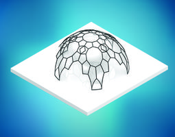 3D model Dome pentagonal array dome wireframe with glass