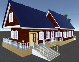 3D Russian Wooden House In Siberian Village - 2 for games