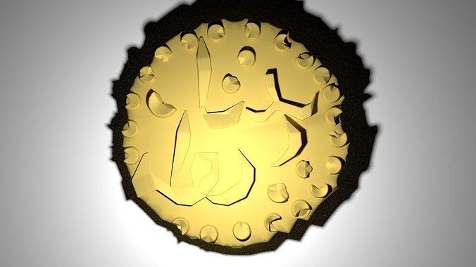 gold coin - ancient malay 3d model blend dae 1