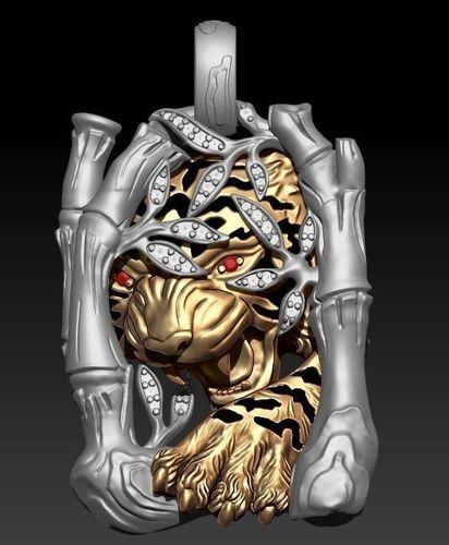 tiger necklace 3d model stl 3dm 1