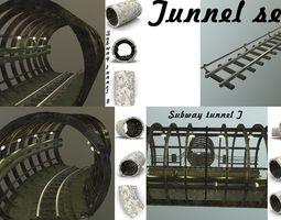 Subway tunnel set 3D asset
