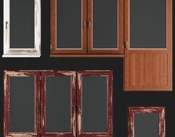 3D asset game-ready Wooden Windows