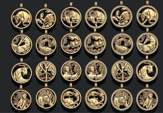 jewellery horoscope signes pack 3d model stl 3dm 1