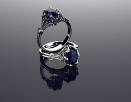 3D print model Vintage Ring Sapphire And Diamond Rings