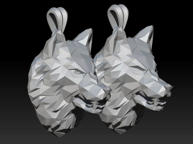 angry wolf low poly pendant 3d model stl 3dm 1