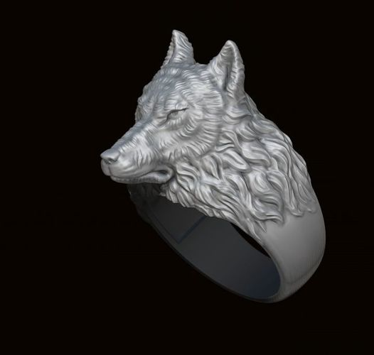 3D Print Model Wolf Ring