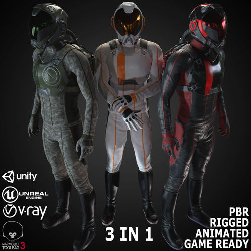 mx01 sci-fi suit male 3d model low-poly rigged animated max fbx unitypackage prefab 1