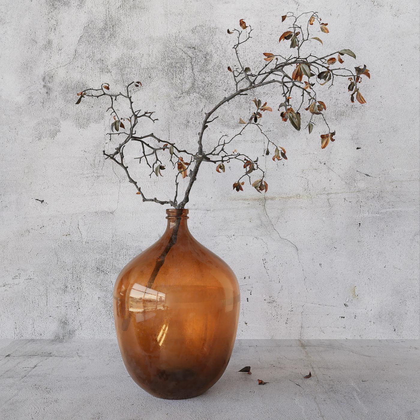 Branch in brown bottle