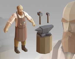 Blacksmith Low Poly 3D model