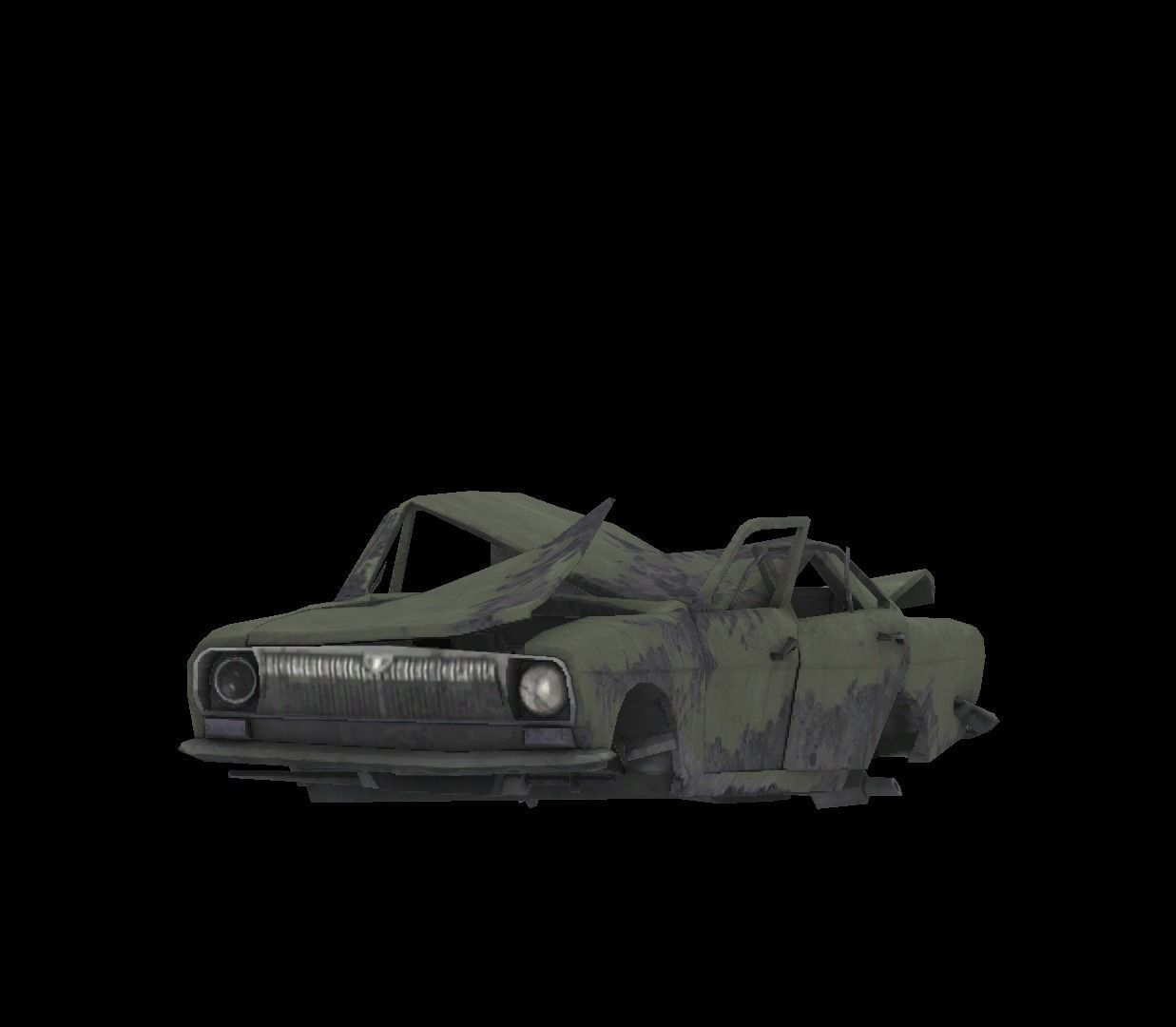 Low Poly Wrecked Car Game Ready