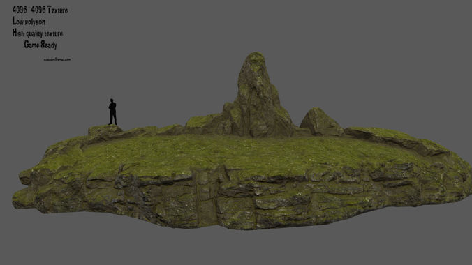 mossy terrain 3d model low-poly obj mtl fbx blend 1