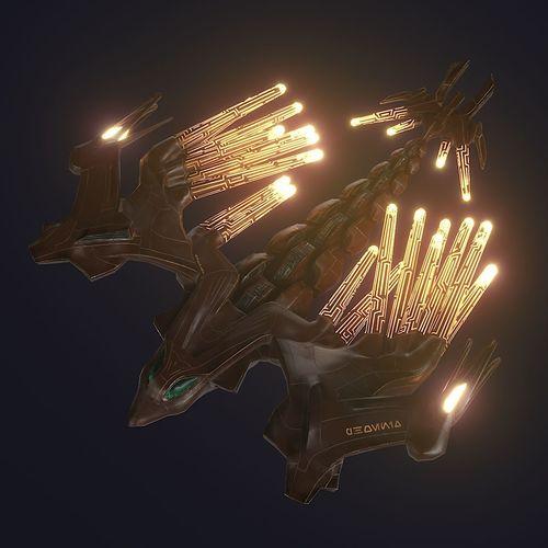 sci-fi steel phoenix pbr 3d model low-poly rigged animated max obj mtl fbx unitypackage prefab 1