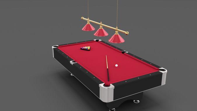 8 Ball Pool Table Setting Red 3d Model Obj Fbx Stl Blend Dae Mtl 11