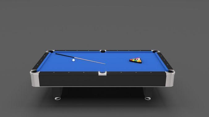 8 Ball Pool Table Blue 3D Model