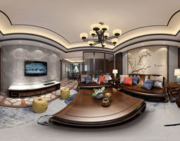 New Chinese style Living dining room 3D
