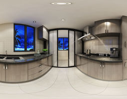 Modern concise style Kitchen Dining room 3D