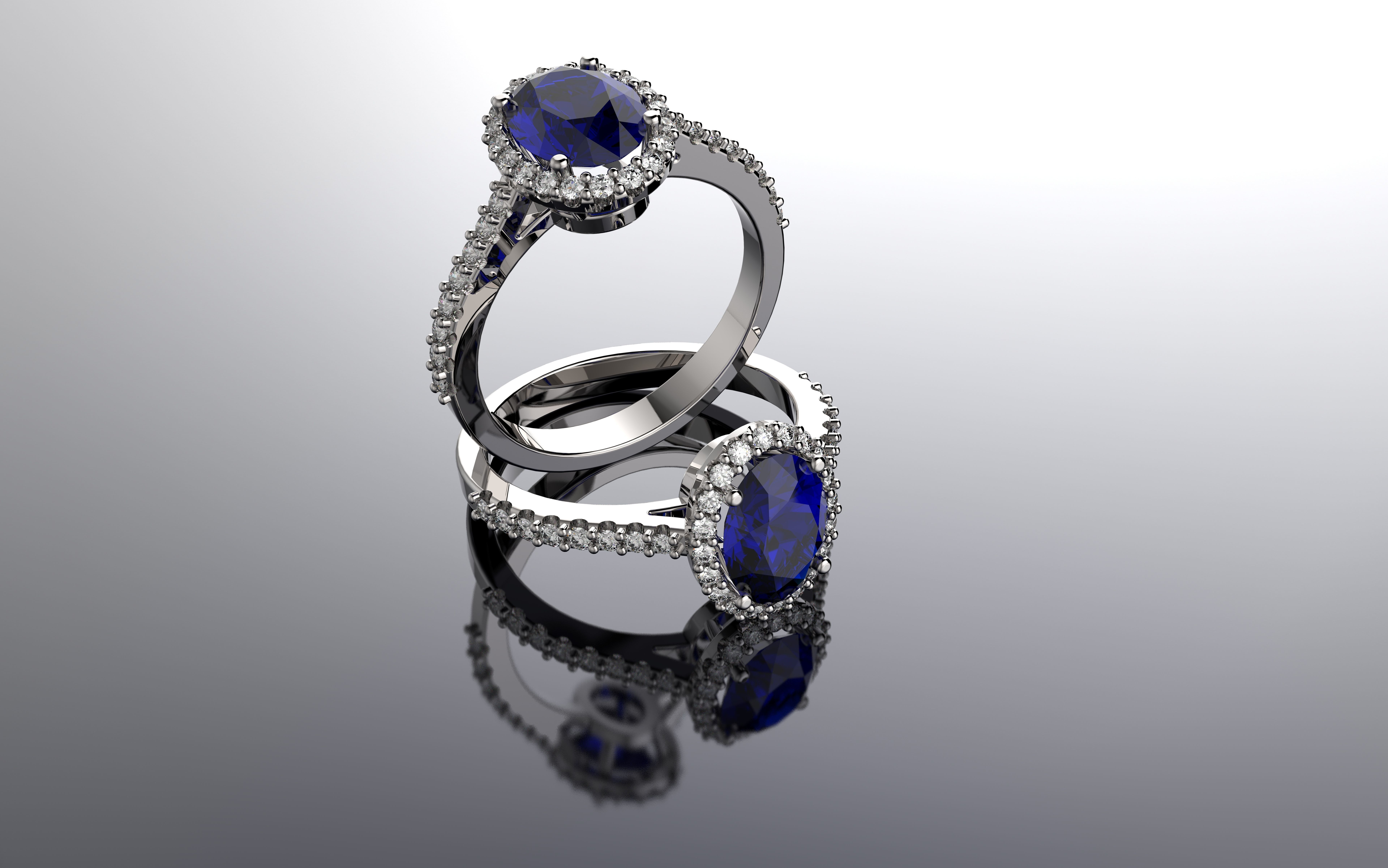 Oval Sapphire and Diamond Halo Ring in 18k White Gold | 3D Print Model