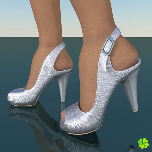 silver heeled shoes low poly 3d model low-poly obj mtl fbx blend 1 ... 29afb3643