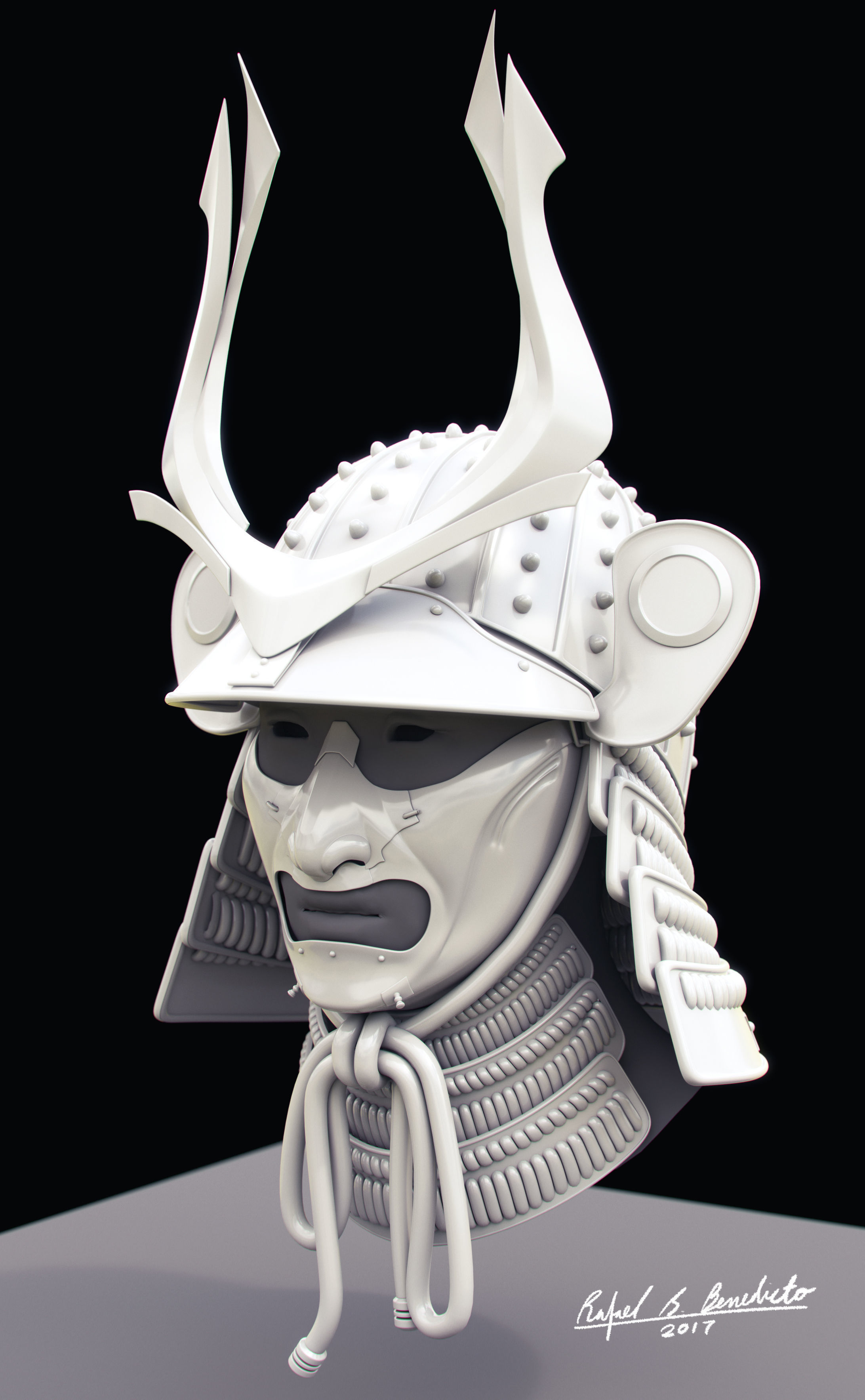 3d samurai helmet cgtrader